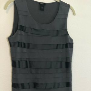 Ann Taylor Factory Tiered Sleeveless Blouse Gray